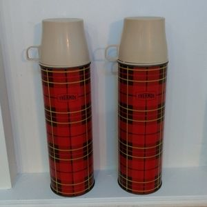 1964 Plaid Thermos set